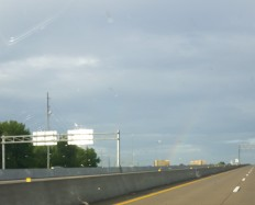 You can barely see it but there was a rainbow over Geekway when my wife and I drove in on Saturday.