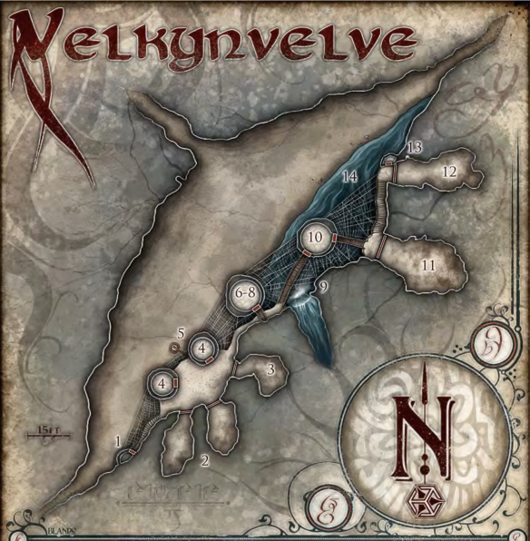 Velkynelve, an outpost high above a cavern floor. Home to the dreaded drow, their quaggoth servants, & giant spider pets.