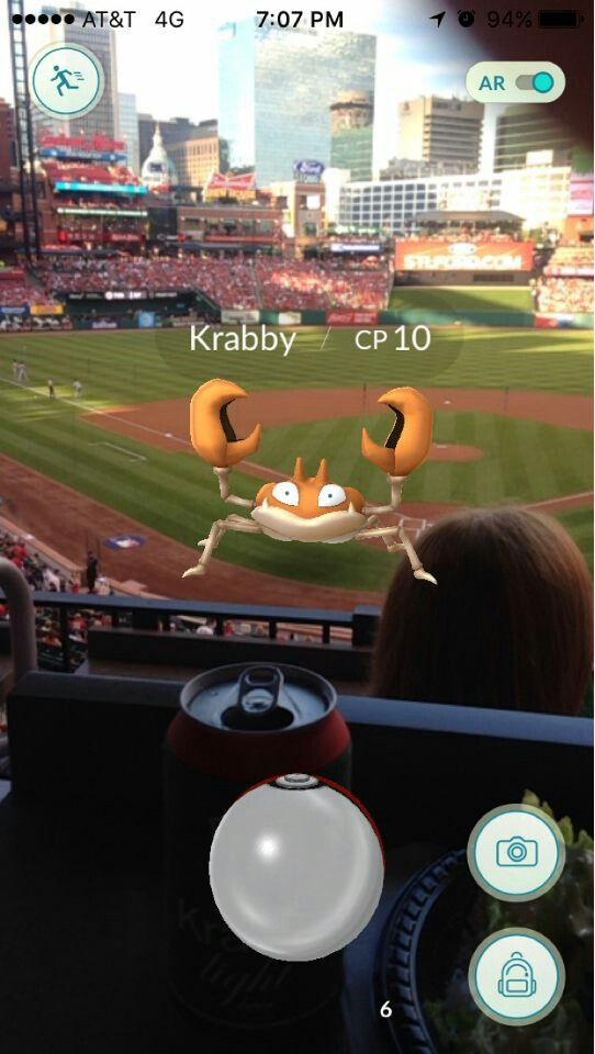 Sarah caught a lot of cool Pokemon at Busch Stadium in St. Louis
